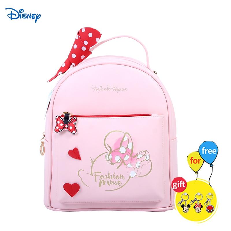 Disney Fashion Backpack Women Mini Soft Touch Multi-Function Mochila Female Backpack Minnie Female Lady Shoulder Bag Makeup Bag