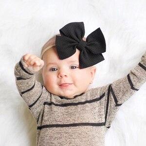 Image 4 - 30 sztuk mała kokardka z pałąkiem na głowę dziewczynek akcesoria do włosów rekwizyty fotograficzne piękny Pirincess prezent nylonowe włosy krawaty maluch BowKnot pasma włosów