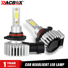 Racbox 자동차 전조등 전구 LED H7 H1 H3 H4 H11 H8 H27 880 자동 터보 슈퍼 미니 램프 Refit 3000K 6000K 10000K HB4 HB3 9005 9006