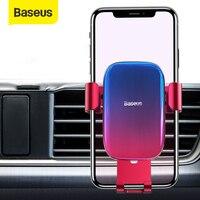 Baseus-soporte de teléfono para la rejilla de ventilación del coche, base con bloqueo automático y rotación de 360 grados para iPhone 12 11 Pro Samsung Huawei de 4,7-6,5 pulgadas