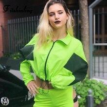 Fitshinling Zip Up Neon Green Sweatshirt Female Harajuku Patchwork Slim Crop Hoodie Fashion Athleisure Womens