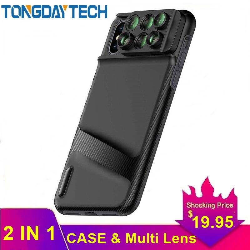 Lente de cámara Tongdaytech Para Iphone XR XS MAX X Lente 6 en 1 funda de teléfono ojo de pez gran angular Macro Lente Para ojo de pez Celular