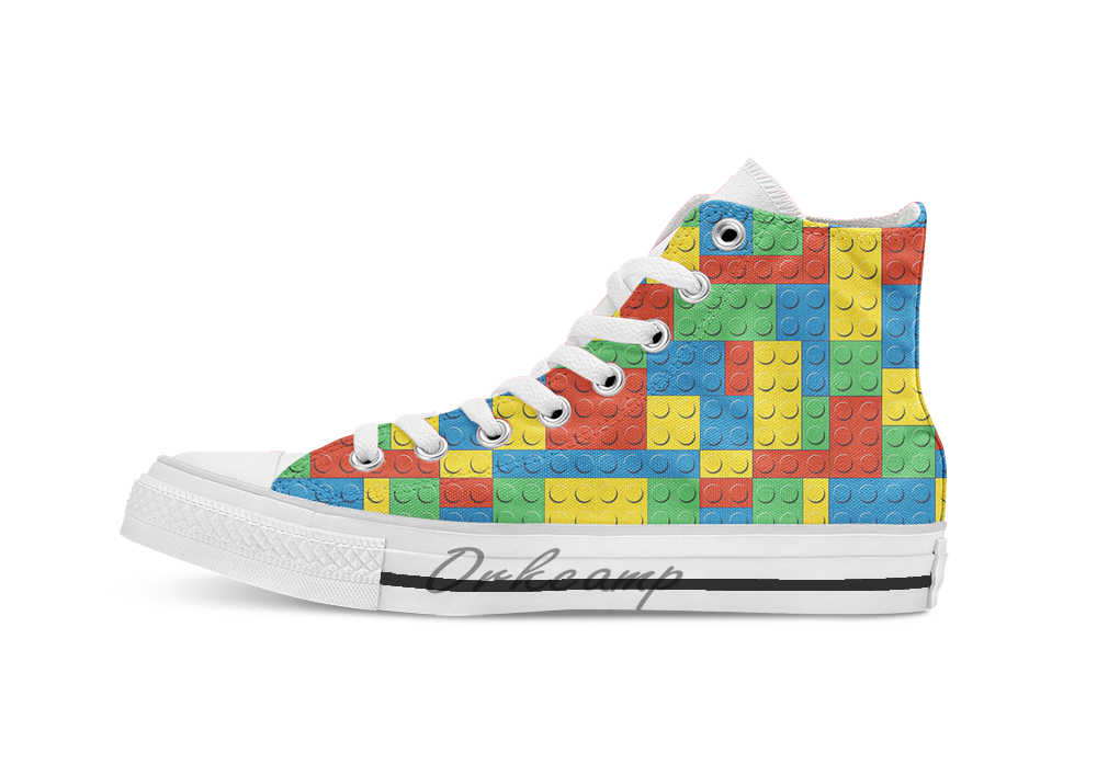 Eu amo lego novidade design casual lona sapatos personalizados drop shipping