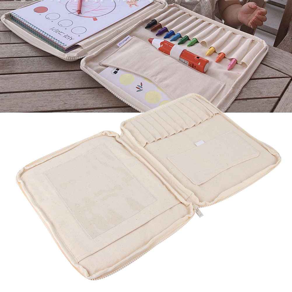 DIY Beige Multifunction Large Capacity Children Paintbrush Crayons Storage Stationery Bag With Zipper