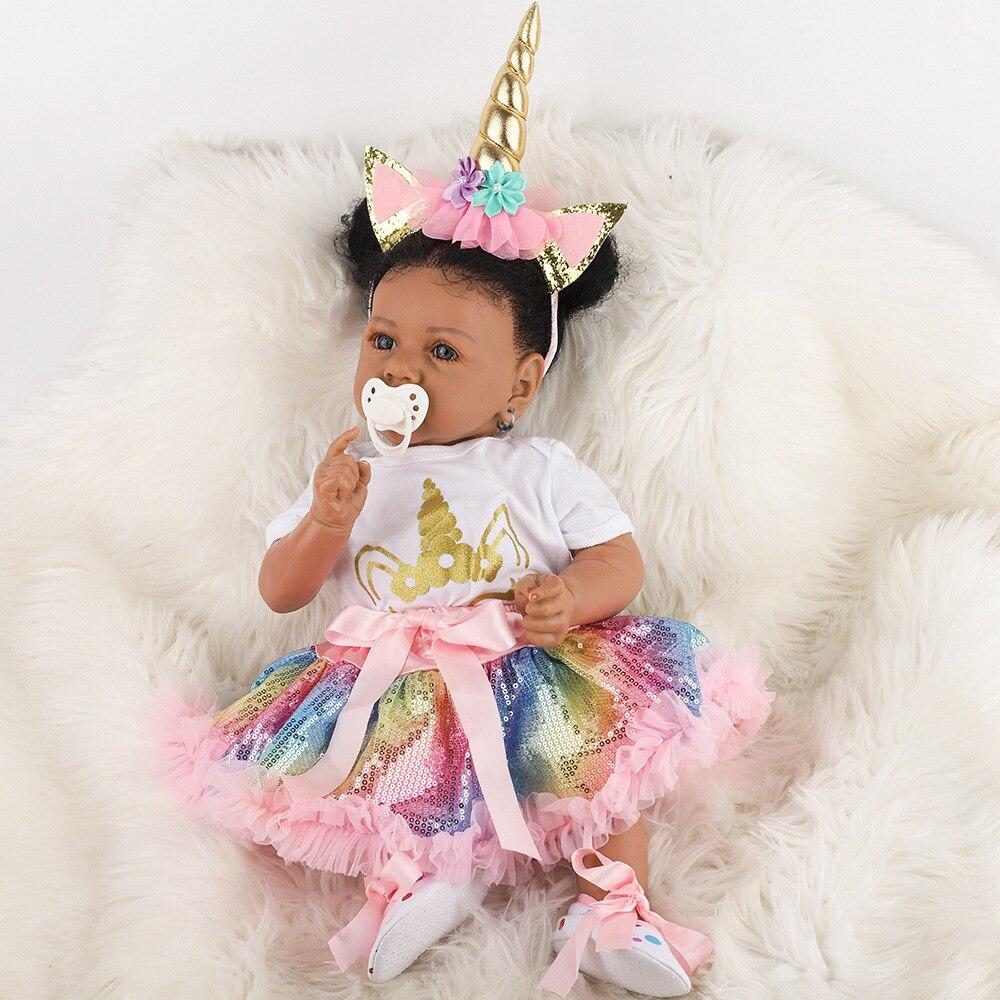 Realistische Reborn Baby Puppe Schwarz African American Saskia Weiche Volle Körper Silikon Kleinkind Mädchen Boneca Bebe Spielzeug für Kinder Geschenk