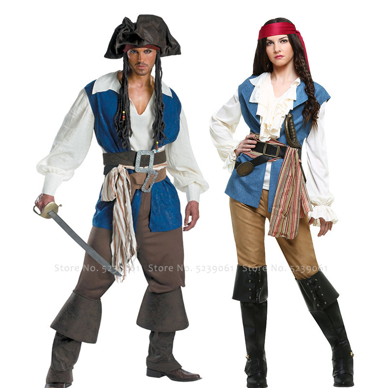 Halloween Carnival Men Women Couple Pirate Tops Vest Pants Belt Hat Wig Party Wear Stage Performance Cosplay Costume Set Suit image