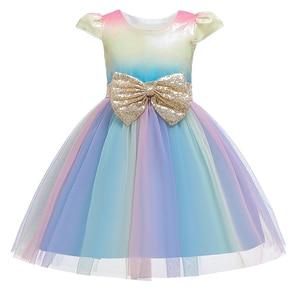 Детские платья для девочек, свадебное платье принцессы с радужными блестками, праздничные платья для маленьких девочек на день рождения, од...