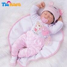 55 см живой спящий Bebe Кукла реборн детская игрушка для девочки специальные подарки силиконовый виниловый розовый наряд с милой шляпой высок...