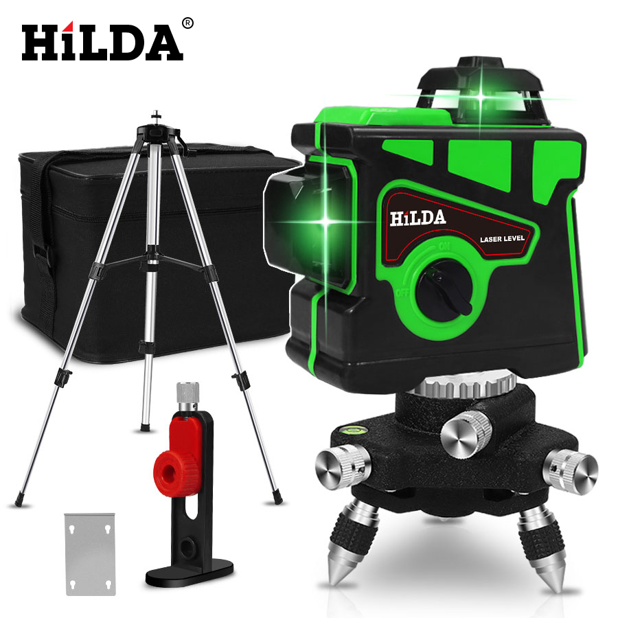 HILDA Laser-Level Vertical-Cross 12-Lines Green 3D Super-Powerful 360-Horizontal And