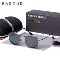BARCUR, nuevas gafas De Sol reflectantes, gafas De Sol para mujer, gafas De Sol para hombre con marco De acero inoxidable, gafas De Sol hexagonales con espejo