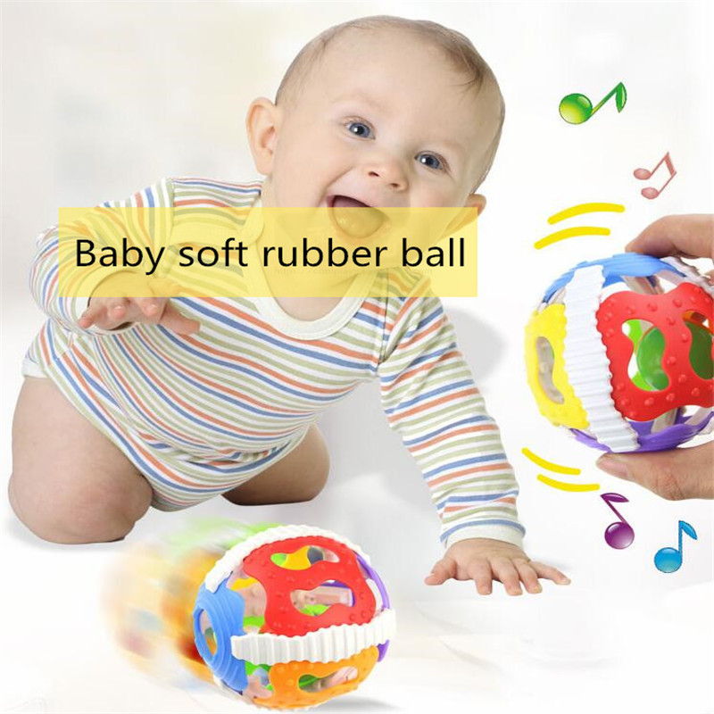 Children's Hand Grab Colorful Soft Glue Rattles Toys For Kids Fitness Soft Rubber Ball Newborn Oral Care Puzzle Educational Toys