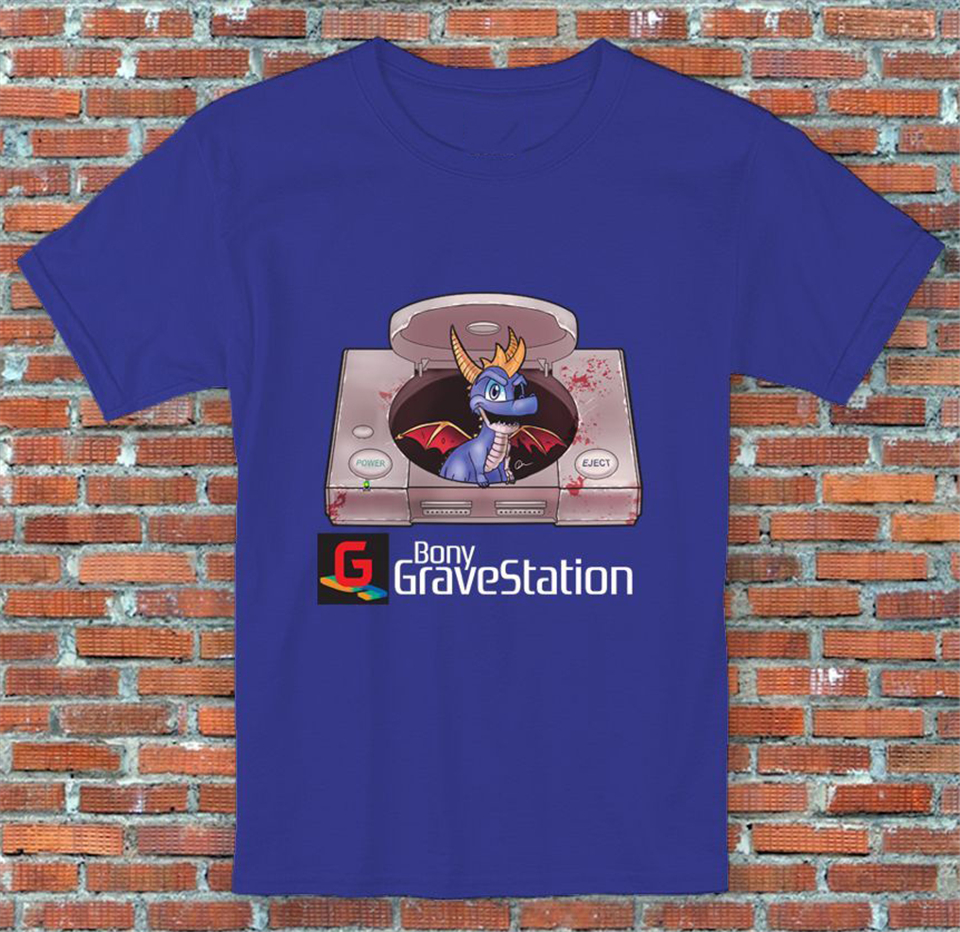 Bony GraveStation Console Spyro Parody Video Game Inspired T-Shirt S M L XL 2XL vintage O Neck Tops Tee Shirt image