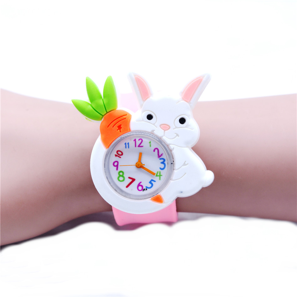 Cute Holding Radish White Rabbit Style Slap Watch Fox Bird Pig Dog Panda Penguin Animal Watches Kids Christmas New Year Gifts