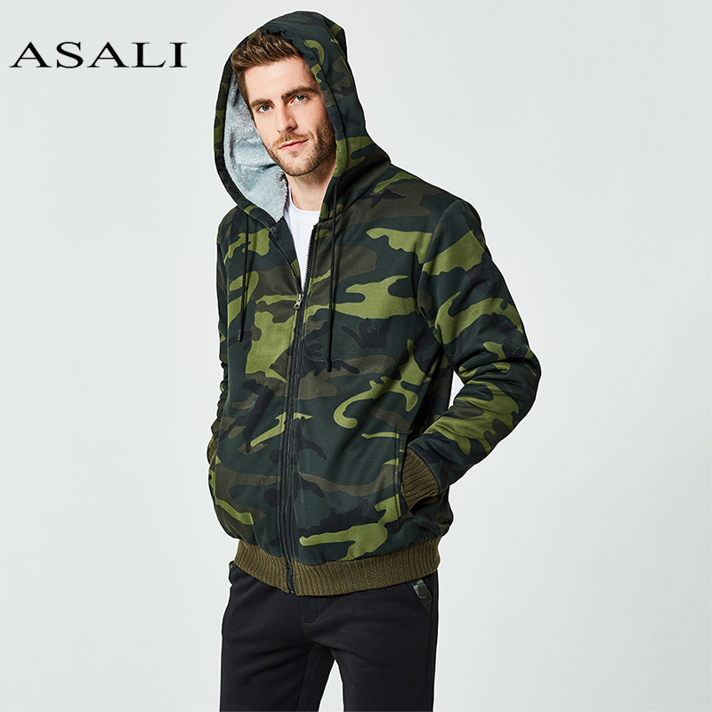 ASALI Winter Set Men Warm Tracksuit Fur Inside Set Mens Thick Fleece Jackets+Pants Camouflage Suit Sporting Hoodies Sweatshirts
