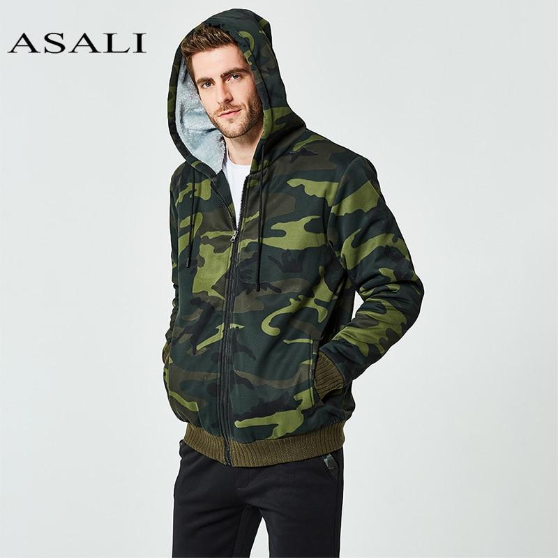 ASALI Winter Set Men Warm Tracksuit Fur Inside Set Mens Thick Fleece Jackets+Pants Camouflage Suit Sporting Hoodies Sweatshirts