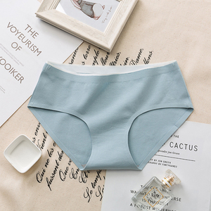 Image 5 - New mid waist womens solid color non mark antibacterial panties breathable cotton briefs ladies underwear hot sale