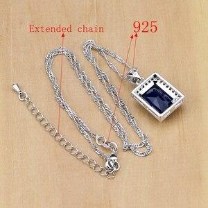 Image 5 - 925 סטרלינג תכשיטי כסף כחול זירקון לבן CZ תכשיטי סטים לנשים עגילים/תליון/שרשרת/טבעות/צמיד