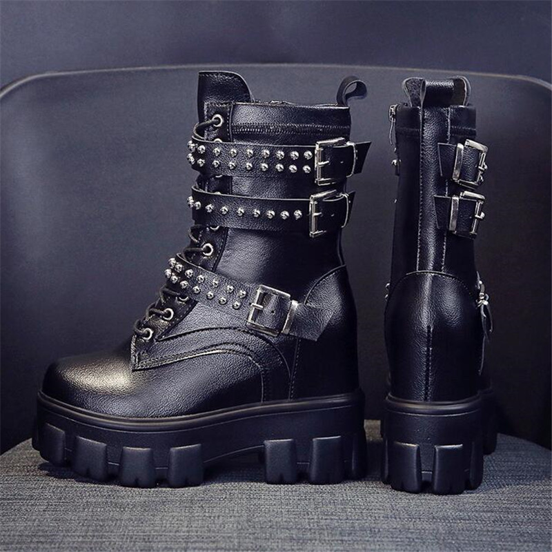 New 2020 Thick Heel Ankle Boots Lace Up Chunky Boots Women High Heels Autumn Winter Woman Shoes Rivet Boots Warm Platform Shoes