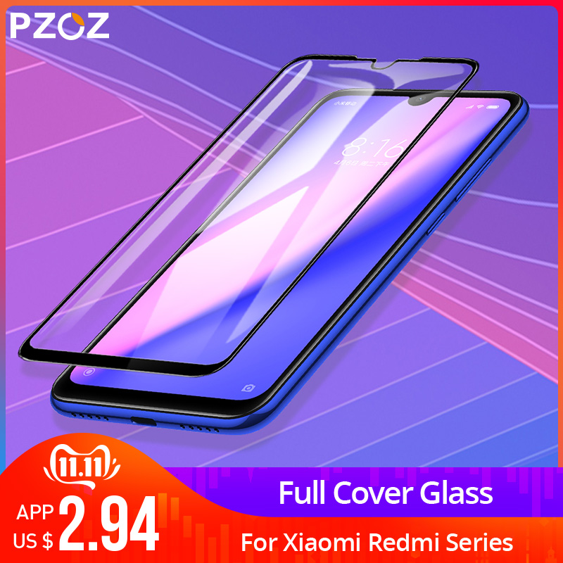PZOZ For Xiaomi Redmi Note 7 8 K20 Pro 7A Screen Protector Full Cover Tempered Glass For Xiaomi Mi CC9e A3 9 Mi9 Protective Film-in Phone Screen Protectors from Cellphones & Telecommunications