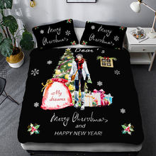Thumbedding Christmas Bedding Cover For Girl Gifts Print King Size Duvet Cover Black Queen Full Twin Single Festival Bed Set(China)