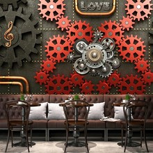 Personalizado 3d auto adesivo papel de parede murais engrenagem maquinaria retro nostalgia cartaz mural ktv bar café restaurante pano de fundo decorat