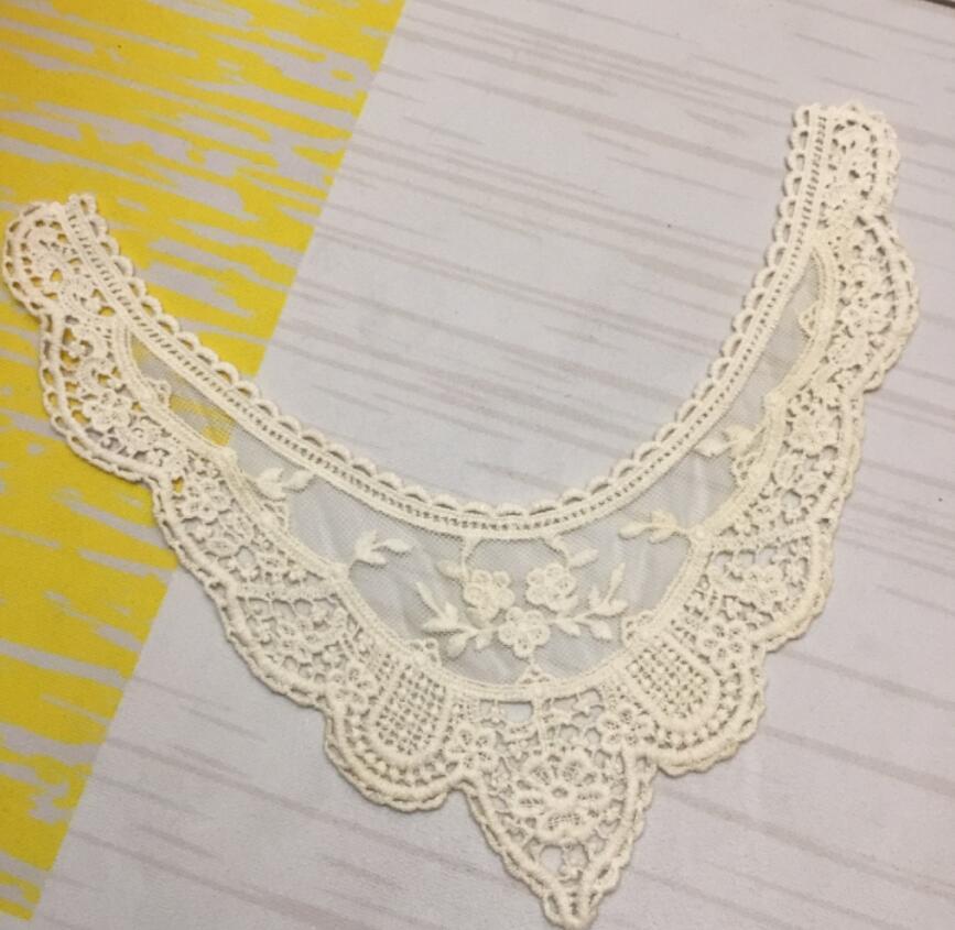 1 peça 32*29cm 100% algodão bege bordado rendas colar decote venise applique acessórios