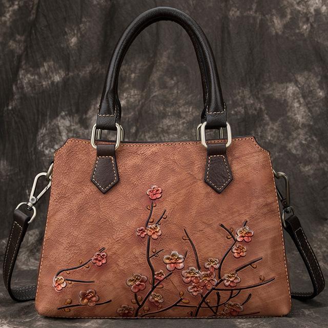 Ladies Cowhide Leather Floral Bags