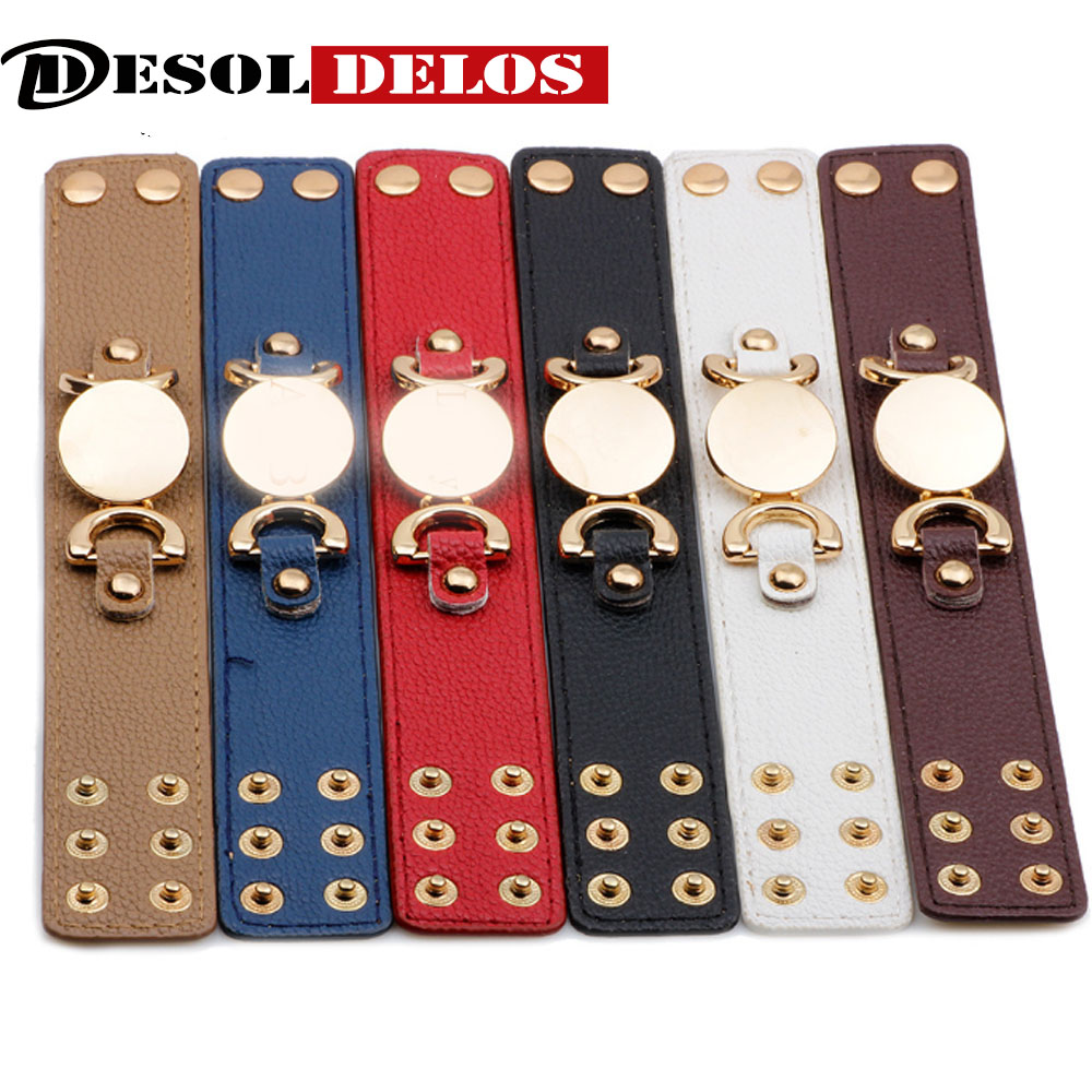 2019 Hot Selling Monogram Leather Cuff Bracelet Pulseras 3 Row Gold Color Multicolor Leather Bracelet For Women Men in Charm Bracelets from Jewelry Accessories