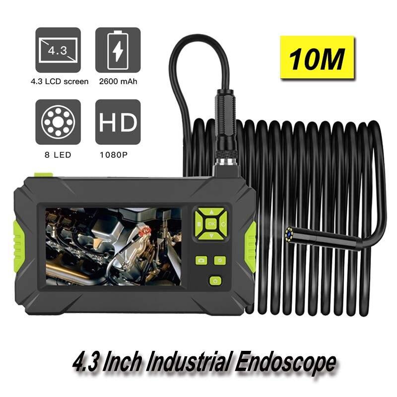 """Güvenlik ve Koruma'ten Gözetim Kameraları'de Mini kamera endüstriyel endoskop HD 1080P Borescope 4.3 """"muayene yılan kamera 8mm Lens endoskop 10m sabit kablo endoskopi title="""