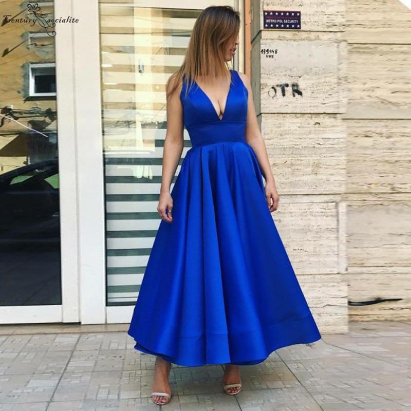 2019 robes De bal bleu Royal longue longueur De cheville col en v profond fermeture à glissière dos Satin robes De soirée robe De soirée formelle Vestidos De Festa
