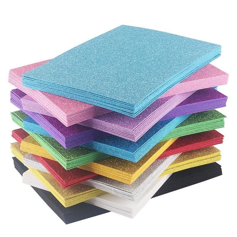Free Shipping 10pcs 2MM Thick A4 With Gold Powder Sheet Material Glitter Bright Sponge Paper Foam Paper Kindergarten Handmade