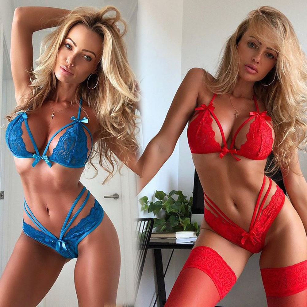 Porno Sexy Women Underwear Babydolls Lingerie Sleepwear Bandage Lace Bras Panties G-string Set Hot Exotic Apparel