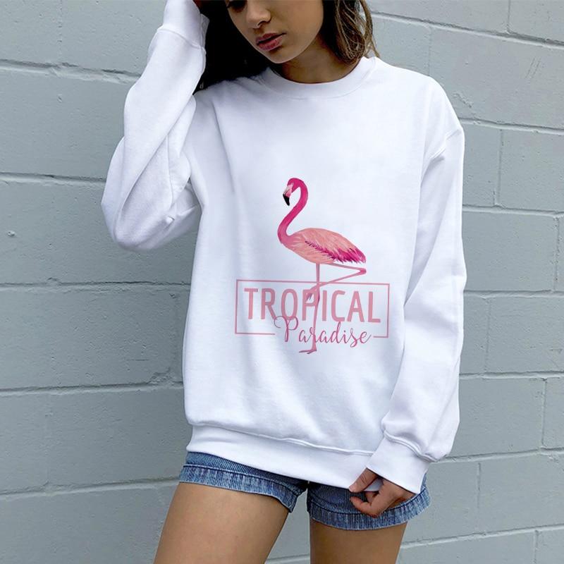Fashion Female Harajuku Women Hoodies Flamingo Printed Sweatshirt Korean Style Elegant Streetwear Long Sleeve Shirt Tracksuit