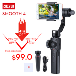 Zhiyun Smooth 4 3-Axis Handheld Gimbal Stabilizer for iPhone X Samsung S9 Huawei P20 Pro Xiaomi 6 Smartphone Gopro 5 4 3