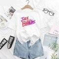 Джули и фантов T рубашка Harajuku с коротким рукавом Закат кривой футболка унисекс Графические футболки одежда, Camisetas, футболки для девочек