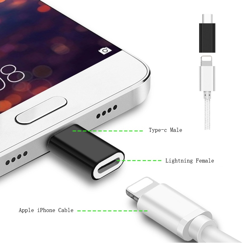 For 8Pin Lightning Female To Micro USB/Type C Male SYNC Charge Converter Adapter For IPhone Cable To Xiaomi Huawei Android Phone