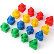 Coogam 32 PCS Jumbo Nuts and Bolts Set Toddler Toys Shapes Colors Matching Tools Screw Nut Toys for 1 2 3 Year Old Kids Baby