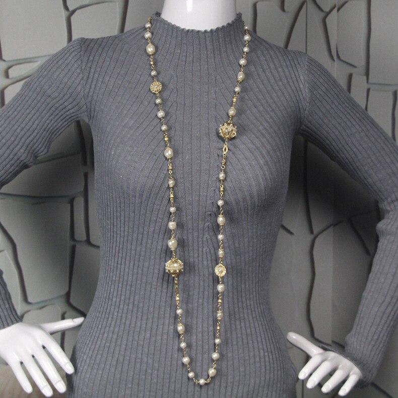 Bijoux exquis simulé Double chandail chaîne perle pendentif long chandail colliers coréen fête bijoux accessoire
