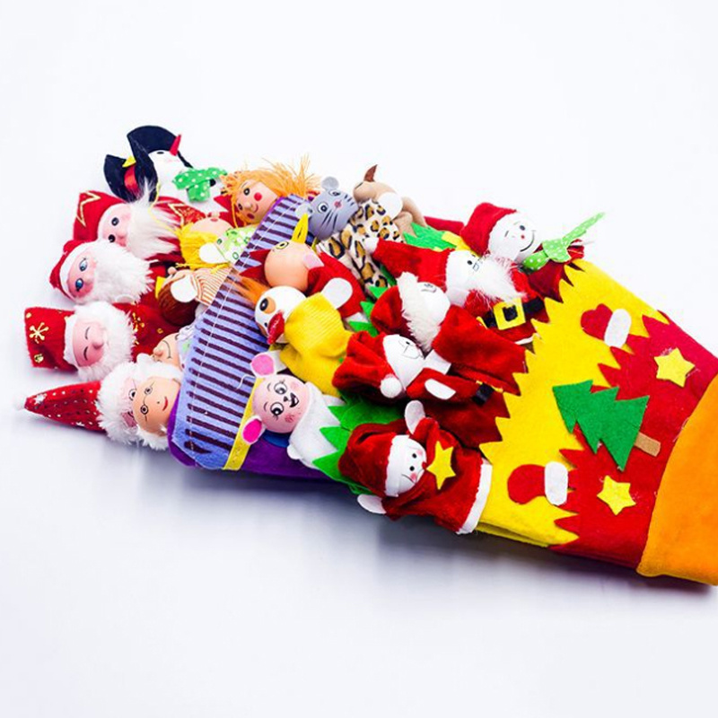 Creative Christmas Cloth Animal Gloves Adult Thumb Toy Decoration For Home Kids Gifts