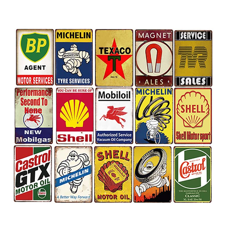 Motor Oil Plaque Vintage Metal Tin Signs Garage Gas Station Decorative Tyre Service Retro Wall Art Poster 20x30cm