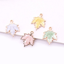 10pcs/pack Maple Leaf  Enamel Charms Alloy Pendant Metal Golden for Bracelet Earring DIY  Jewelry Accessories 5pcs alloy enamel heels hat coat charms with artificial pearl gold tone charm for women earring bracelet jewelry diy accessory