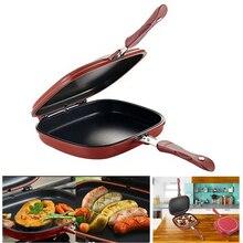 Сковорода-антипригарная литая двухсторонняя Складная сковорода для стейка кухонная посуда Блинная сковорода Frittata кухонная утварь для кухни