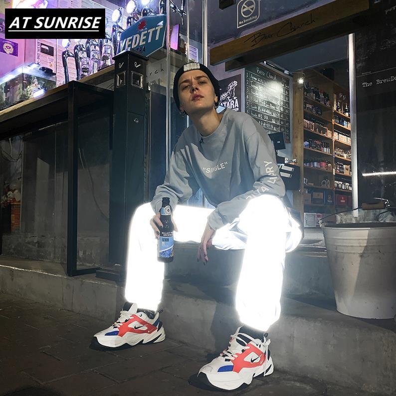 3M reflective jogger pants men/women casual gray solid streetwear hip hop trousers fashion Nightclub bar clothes pencil pants(China)