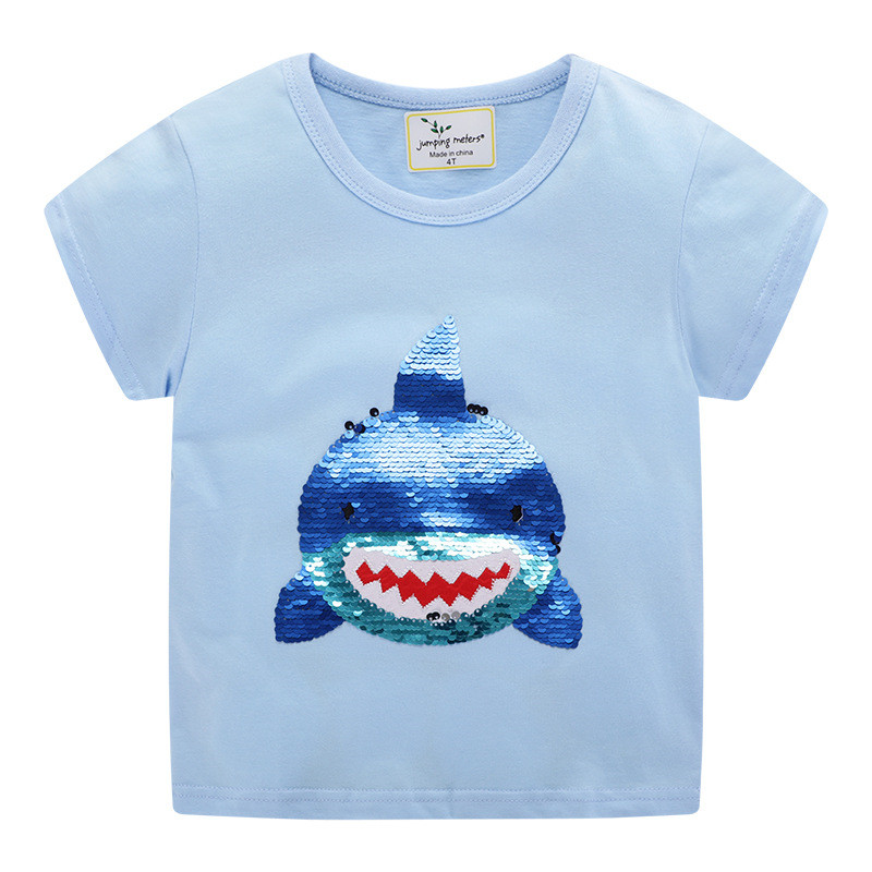 Jumping Meters Baby Summer Casual T Shirts 100% Cotton Shark Beading Boys Girls Tees Tops With Animals Children Clothing T Shirt