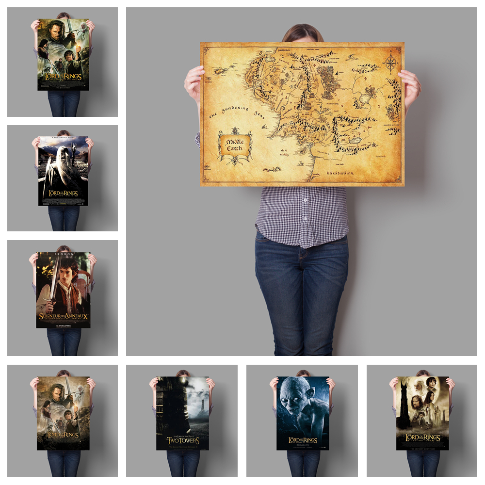 Lord of the Rings hobbit map of the Middle-earth movie poster retro poster style home decoration painting No Frame o694 image