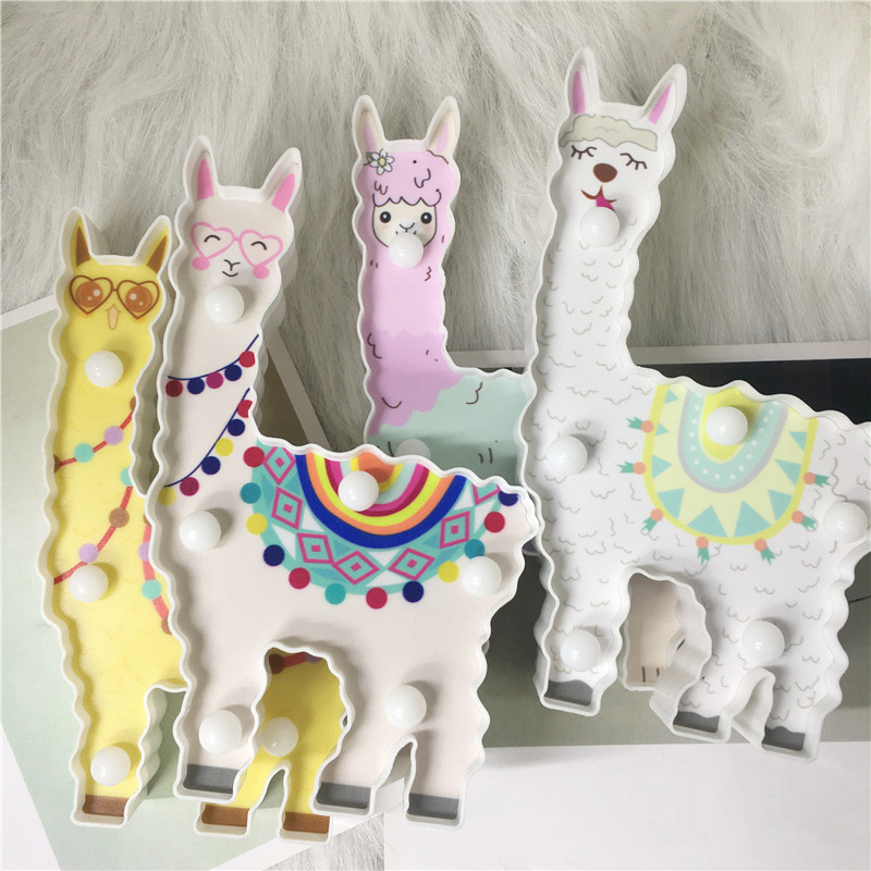 New Design 6 Leds Night Lamp 3D Alpaca Unicorn Flamingo Shape Battery Powered Cute Light Hanging Wall Lamp Warm Bedside Lighting