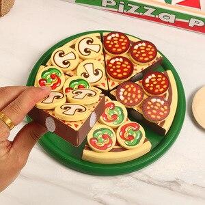 Image 4 - 27 sztuk udawaj zagraj w symulację drewniane Kichen cięcie pizzy zestaw zabawek do odgrywania ról gotowanie zabawki wczesny rozwój zabawki dla dzieci prezent