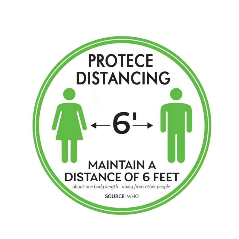 Safety Floor Sign Keep 6 Feet Away Safe Distance Protece Distancing Floor Decal Quotes Words Sticker