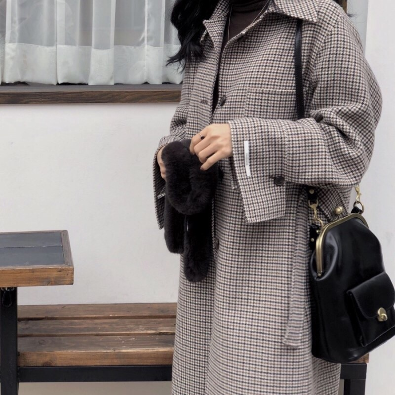 Hd71ad7622e1744e2b832fd2af4f97d35H - Winter Houndstooth Check Woolen Overcoat with Belt