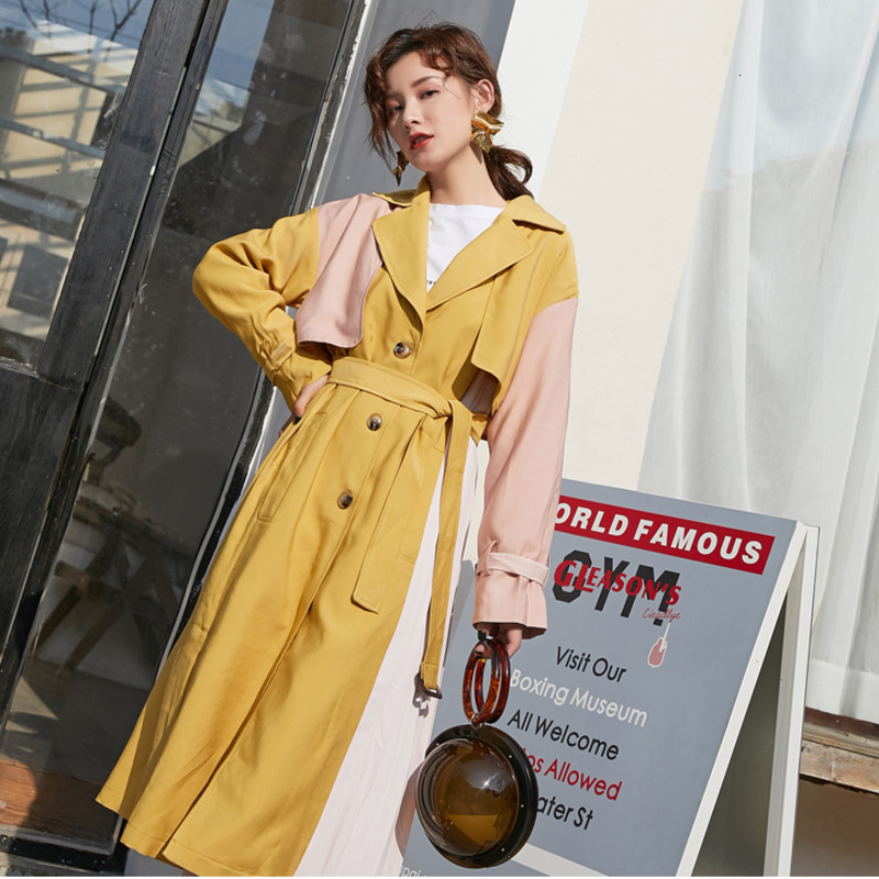 LANMREM New Fashion Simple Hit Color Long Trench Famale Single-breasted Coat With Belt Windbreaker 2020 Spring Casual PC365